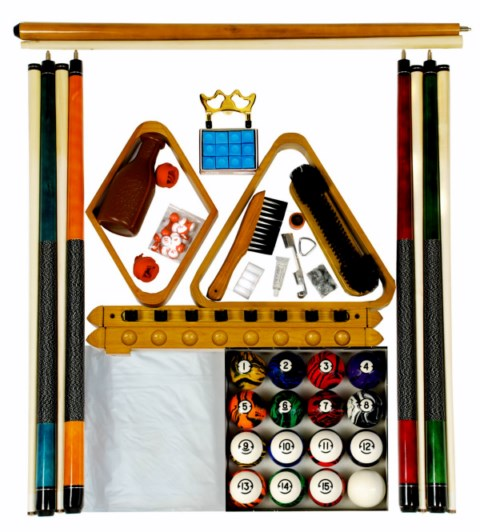 Billiard Pool Table Accessory Kit With Dark Classic Marble Ball Set Oak Finish
